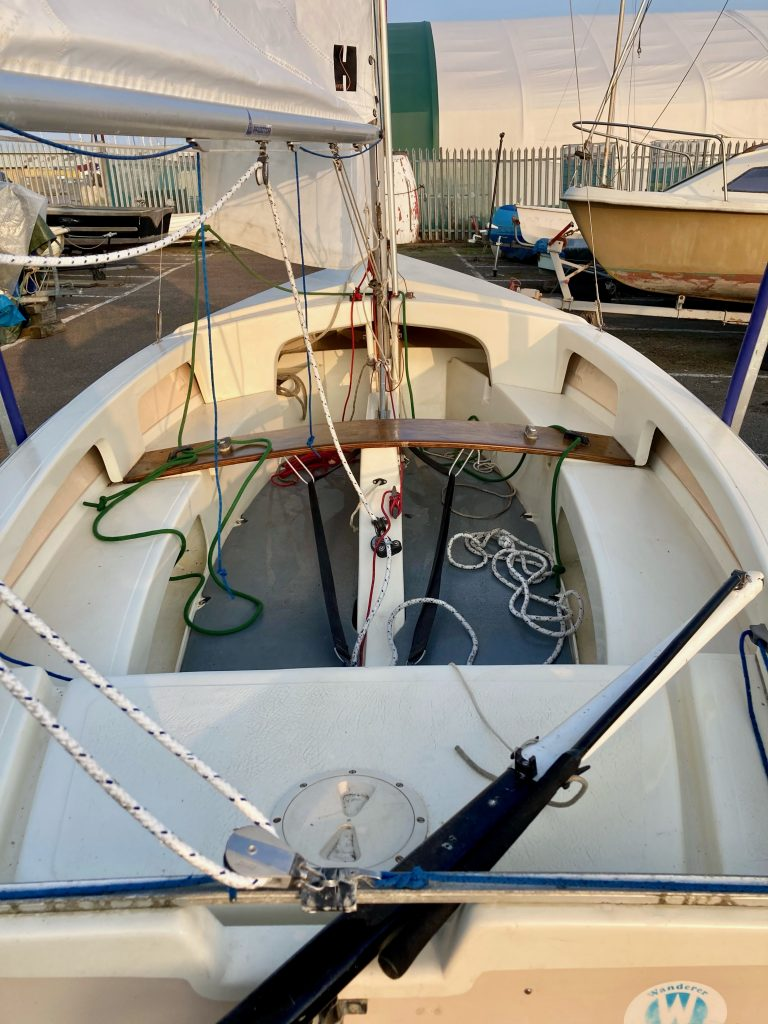 Stern to bow view showing rigging and floorboards