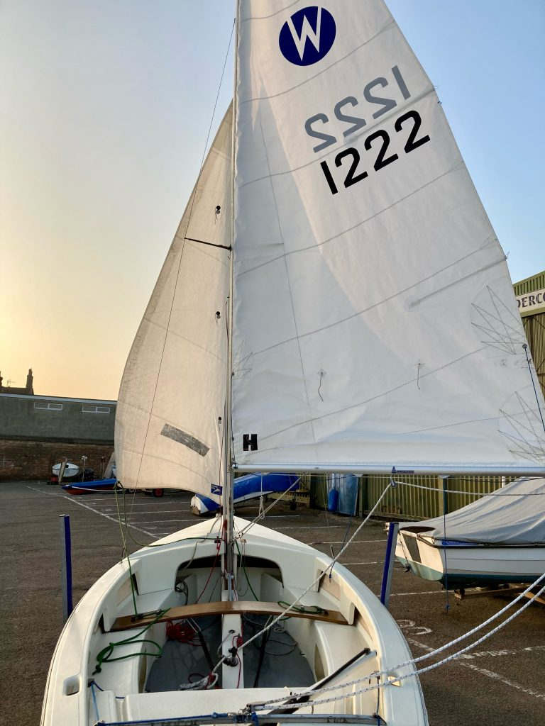 Stern to bow view of sails
