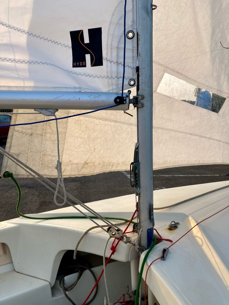 View of the mast, gooseneck, high field lever and kicker.